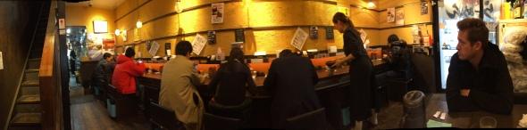 Heads down for ramen at Samurai Noodle, JP.