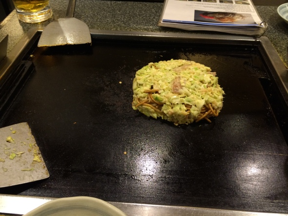 Okonomiyaki in the making.